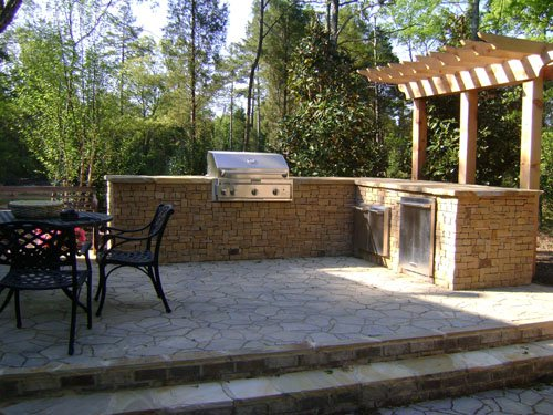 Photo Of Custom Outdoor Kitchen Paver Patio By E H Hardscape In Charlotte Nc