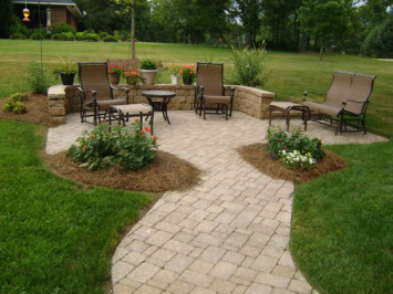 Photo of Outdoor Living Space, paver patio, seat wall by E&H Hardscape in Charotte NC